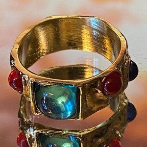 Vintage Baroque Style Gold-Plated Crystal Ring